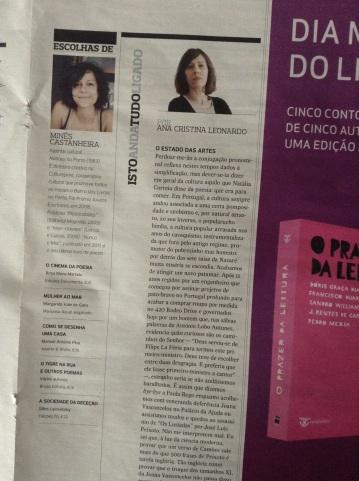 """Cliping: """"As escolhas de Minês Castanheira"""", na revista Actual, Expresso (20/04/2013)"""
